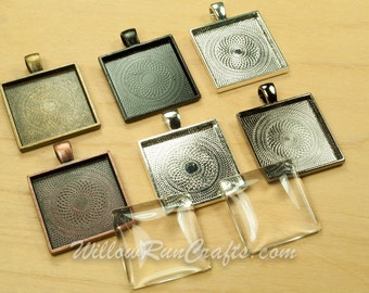 40 pcs 25mm Square Pendant Trays 25mm with 40 Glass Cabochons, Antique Bronze, Ant Copper, Black, Gun Metal, Ant Silver and Silver Plated