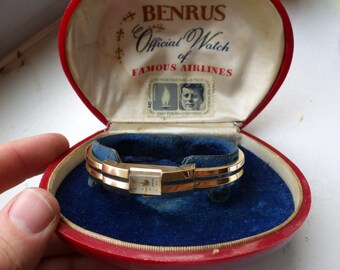 Deco Benrus Cuff Hinge Watch - Yellow Gold - Working - with Case