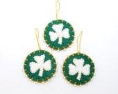 Wool Felt St. Patrick's Day Shamrock Ornaments - Set of 3
