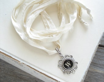 Typewriter Key Necklace. Letter W Necklace. Vintage Typewriter Key Jewelry. Long Boho Sari Silk Ribbon Necklace. Upcycled Eco Friendly Gift.