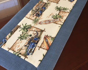 Tropical Beachside Longboards, Surfboards, Woodies and Palm Trees Table Runner by ThemeRunners