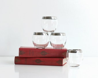 Mid Century Dorothy Thorpe Roly Poly Silver Rim Double Shot Glasses