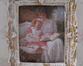 Dollhouse picture, tatty chic, miniature picture, gold trimmed picture, Victorian Mother and child, a dollhouse miniature