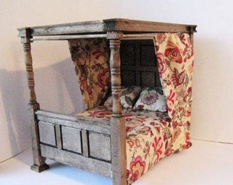 Dollhouse Bed, Tudor Bed, double bed, Medieval bed, dressed bed, Jacobean Canopy bed,  dollhouse miniature,  twelfth scale