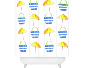 Tropical Holiday Watercolor Shower Curtain