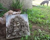 """Reserved for A: 12x12x2 """"Earthbound"""" Sculpture on Canvas Textural Painting by Amber Cunningham (reuse, recycle, repurpose)"""