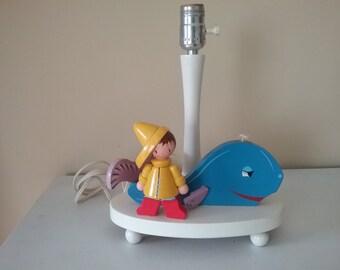 60's Nautical Night Light Nursery Lamp Painted Wood