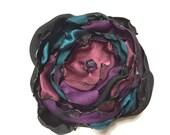 Teal Blue, Black, Cranberry & Purple Flower Accessory, Hair Clip or Brooch, Wedding, Bridal Sash, Bridal Hair Piece, Maternity Sash
