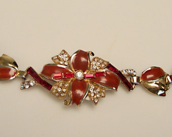 1940's Enameld Bracelet - Bright Red, Dark Red, and White Rhinestones:  Central Flower design held by stylized leaf links, safety chain