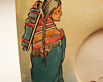 "Desktop Picture Frame (1930's?), Easel back, Hand Painted Native American Indian Scene, Heavy Paper and Cardboard: Round 2"" Photo Opening"
