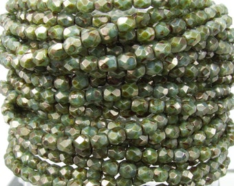 4mm Faceted Opaque Blue Green Picasso Lumi Luster Firepolish Czech Glass Beads - Qty 50 (DW14)