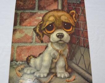 Vintage SAD PUPPY Dog Big Eye Print by GIG 1960's
