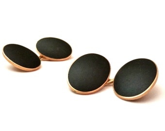 14k Gold Cufflinks, Victorian Gold Cuff Links, Black Onyx & Rose Gold, Victorian Mourning Jewelry, 1800s Fine Gold Men's Jewelry 14k Stone