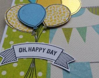 Multi-use handmade card - blue, yellow balloons & bunting - stampin up