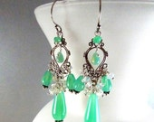 BIGGEST SALE EVER Opalite and Sterling Silver Cluster Wire Wrapped Chandelier Earrings