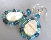 BIGGEST SALE EVER Mother Of Pearl, With Apatite and London Blue Quartz Sterling Silver Earrings