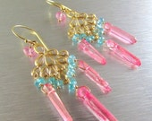 BIGGEST SALE EVER Pink Crystal and Apatite Chandelier Earrings