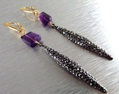 BIGGEST SALE EVER Marcasite Dagger and Amethyst Long Mixed Metal Earrings