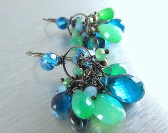 25% Off Summer Sale Blue and Green Mixed Gemstone Earrings