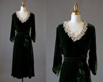 Curtains at Tara Dress | 1930s green velvet dress | 30s garden party dress