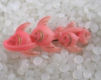 Three  fish vintage hair barrette, pink fish, cute vintage children barrette