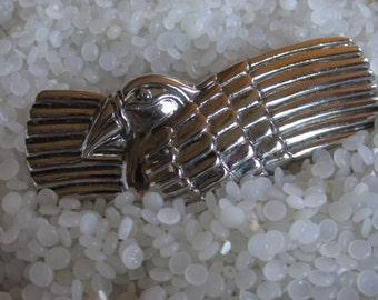 vintage barrette ,Laurel Burch , designer barrette, rare find  ,silver bird, vintage 1980s barrette ,