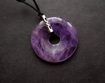 Pendant - Round Amethyst - purple, violett, minimalism , modern, art to wear, ooak, contemporary - by Schneider Gallery