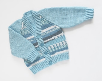 "Baby Boys ""Surf's up"" Cardigan. Hand Knit Cardigan. Hand Knit Childrenswear."