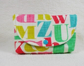 Type Print Pouch, Snap Pouch, Large Snap Pouch .. Just My Type Letterpress in Multi