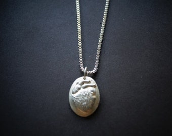 N E W  Anatomical  HUMAN HEART  Necklace  Made in Solid Bronze  Canada 100%