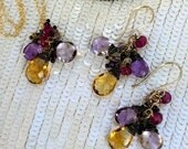 CUPID SALE Ametrine Dangle Earring Necklace Set Wire Wrap Citrine Ametrine Amethyst Red Spinel Jewelry Set February Birthstone Colorful Holi