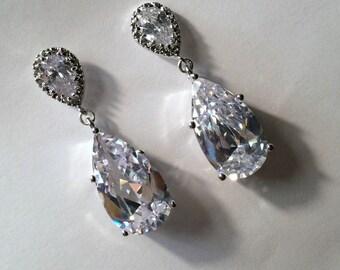 Big Diamond Look Post Earrings CZ Diamond Look Wedding Earrings Bridal Earrings, Silver Post CZ Earrings Red Carpet Diamond Look Earrings