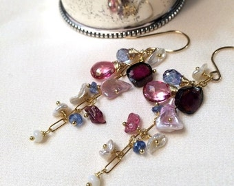 CUPID SALE xOx Pink Dangle Earrings Wire Wrap Gold Fill Pink Topaz Watermelon Tourmaline Chain Dangle Minimalist Jewelry Boho Chic Gems Keis