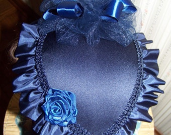 Civil War Hat and Reticule,Victorian Ladies Hat,Navy Blue teardrop satin with Navy Blue Satin ruffle and Ribbon rose