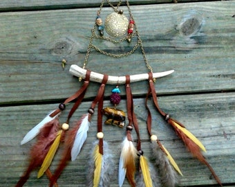 DeviDesigns Bear Totem Wind Chimes Wallhanging - Fairy Bells Turquoise Coral Tiger Eye Deer Antler Rudraksha & Tulsi Beads Feathers n Fringe