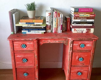 Shabby chic  Desk, red, shabby chic, coastal living, dresser,Vintage entryway table, vanity, retro
