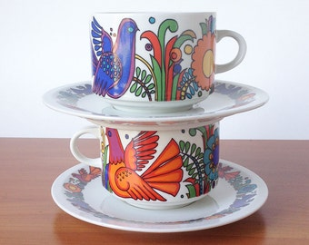 Pair Vintage Villeroy and Boch Porcelaine Acapulco Cups and Saucers, 2 Cups, 2 Saucers, 80's Doves and Flowers