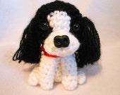 Shih Tzu  Crochet Dog In Black and White, Stuffed Dog, Canine, Stuffed Animal, Dog Lover, Pet Lover