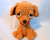 Crochet Dog with Red Collar and Bone Shape Metal Tag, Canine, Amigurumi, Dog Lover, Pet Lover, Puppy