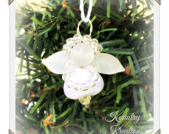 Glistening Beaded and Shell Angel Ornament /Glistening Angel Handcrafted Ornament (Ready to Ship)