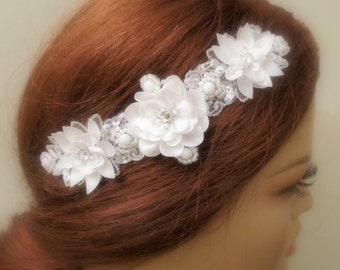 Rhinestone Beaded Lace Bridal Headband Wedding Accessories Ivory Headpiece Silvery Beaded Hair Piece
