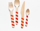 Red Stripes - 20 Wooden Utensils - Choose Forks, Spoons, Knives or Ice Cream Spoons