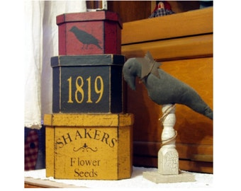 Shaker Flower Seeds primitive stacking boxes