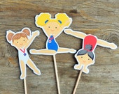 USA Gym Girls Party - Set of 24 Assorted Gymnast Cupcake Toppers by The Birthday House