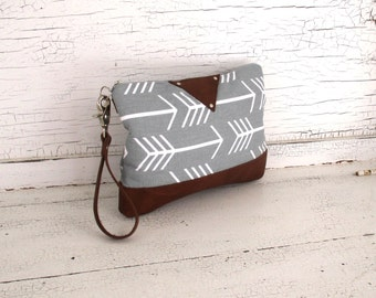 Gray Arrow Print Diaper Clutch, Clutch Purse, Wristlet, Small Purse, iPad Case With Leather
