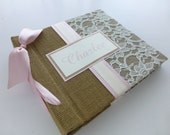 Baby Book-burlap and lace-choose your own ribbon color 8x8 size