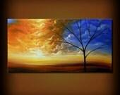 HUGE art surreal original painting tree painting oil large landscape painting large painting large art original art 24 x 48 Mattsart