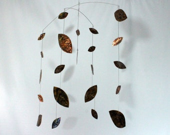 Calder Inspired Copper Mobile for Large Space - Kinetic Art Mobile Falling Leaf Style - 32w x 48t - C143