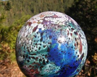 Glassballoon, garden art, made in Oregon