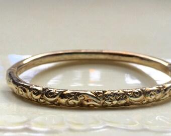 Antique Victorian Rose Gold  Hinged Bangle Bracelet Repousse